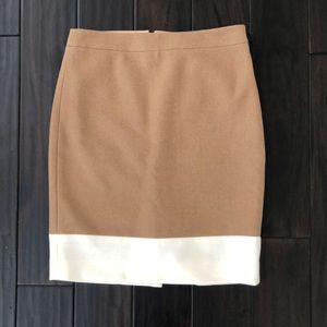 J.Crew Colorblock Camel/White Wool Pencil Skirt